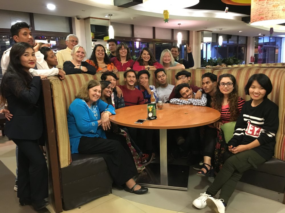The travel group and post 12th grade kids enjoy a great evening together in Durbar Marg.