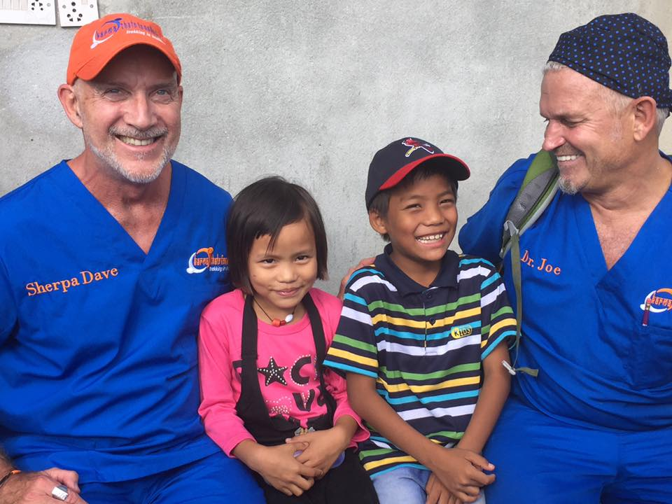 Drs David Null and Joe Grimaud, Karma Thalo docs with our children at the clinic in Kathmandu!