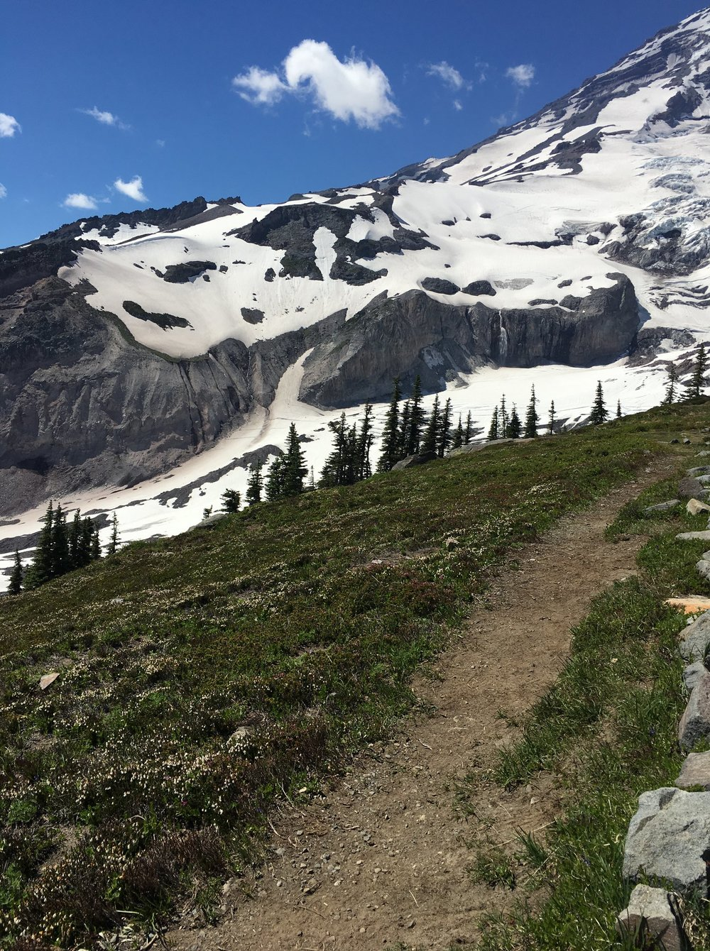 Trail on the way to Mount Rainier summit in Washington
