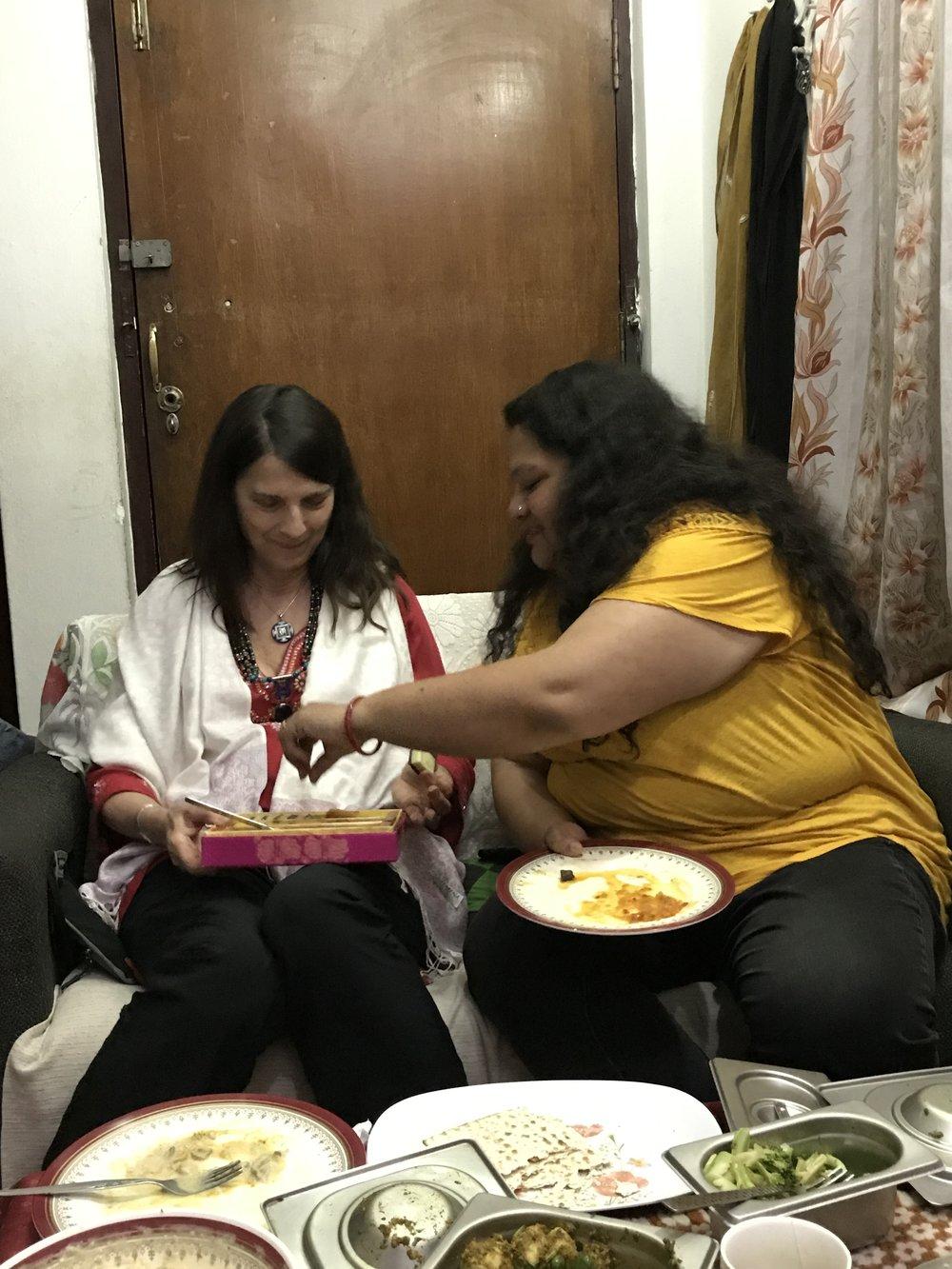 Christine and Leena enjoy the sweets!