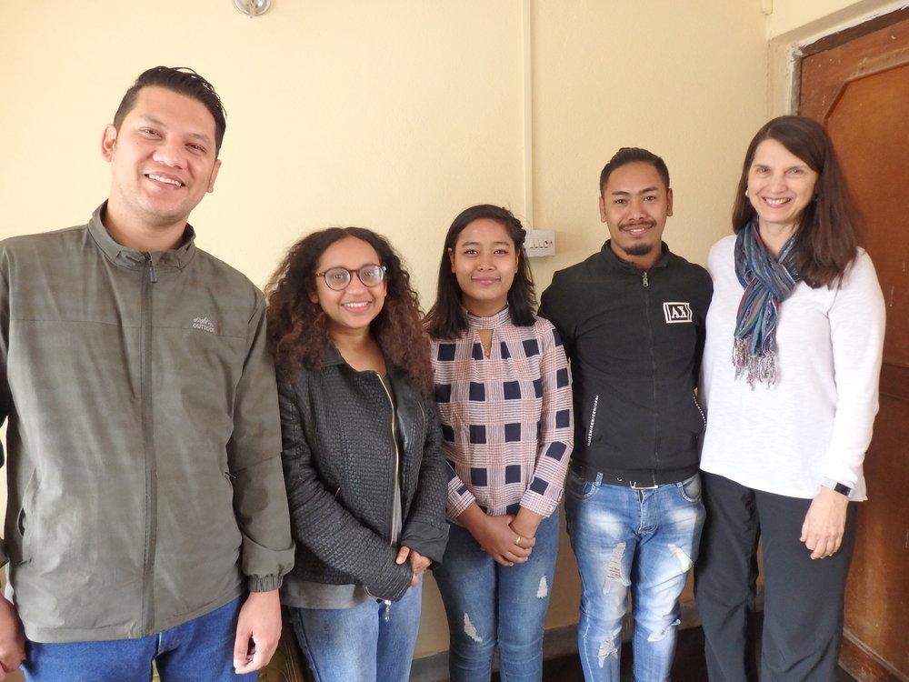 L to R Aleesh, Susmita, Graduates: Pratima and Pradip, Christine