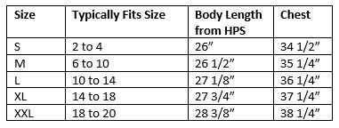 zosia active wear Circle top Size Chart