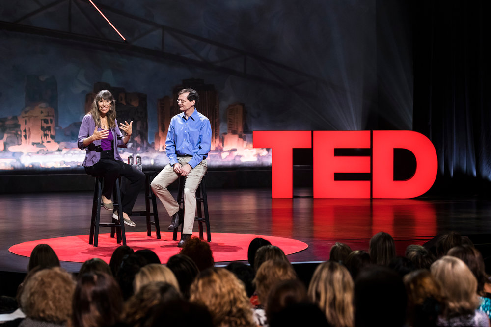 Joan Blades (  Living Room Conversations  ) & John Gable (  All Sides  ) speak at TEDWomen 2017 — Bridges, November 1-3, 2017, Orpheum Theatre, New Orleans, Louisiana. Photo: Stacie McChesney / TED