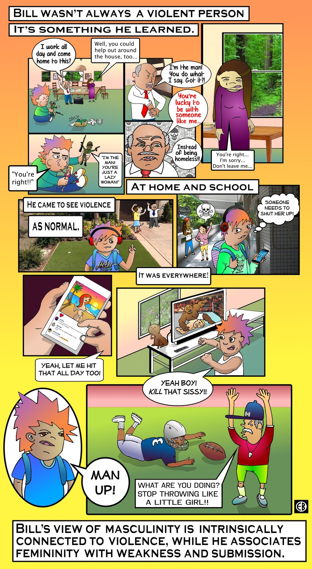 In this comic, we get a glimpse at the detrimental effects that violence can have on a person. We begin to understand how Bill's personality and controlling behaviors stem from his upbringing. Being exposed to violence and abuse at home, in school, on social media, through sports and entertainment have normalized this behavior to Bill. Is it still possible for Bill and Amber to have a healthy relationship? Only time will tell...