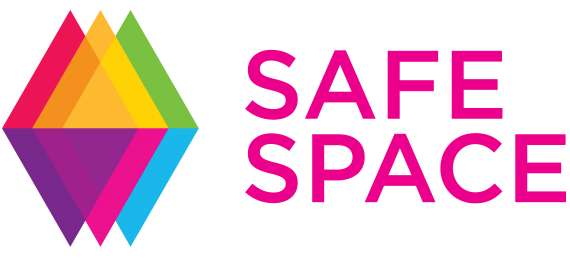 Text says Safe Space with overlapping diamond design