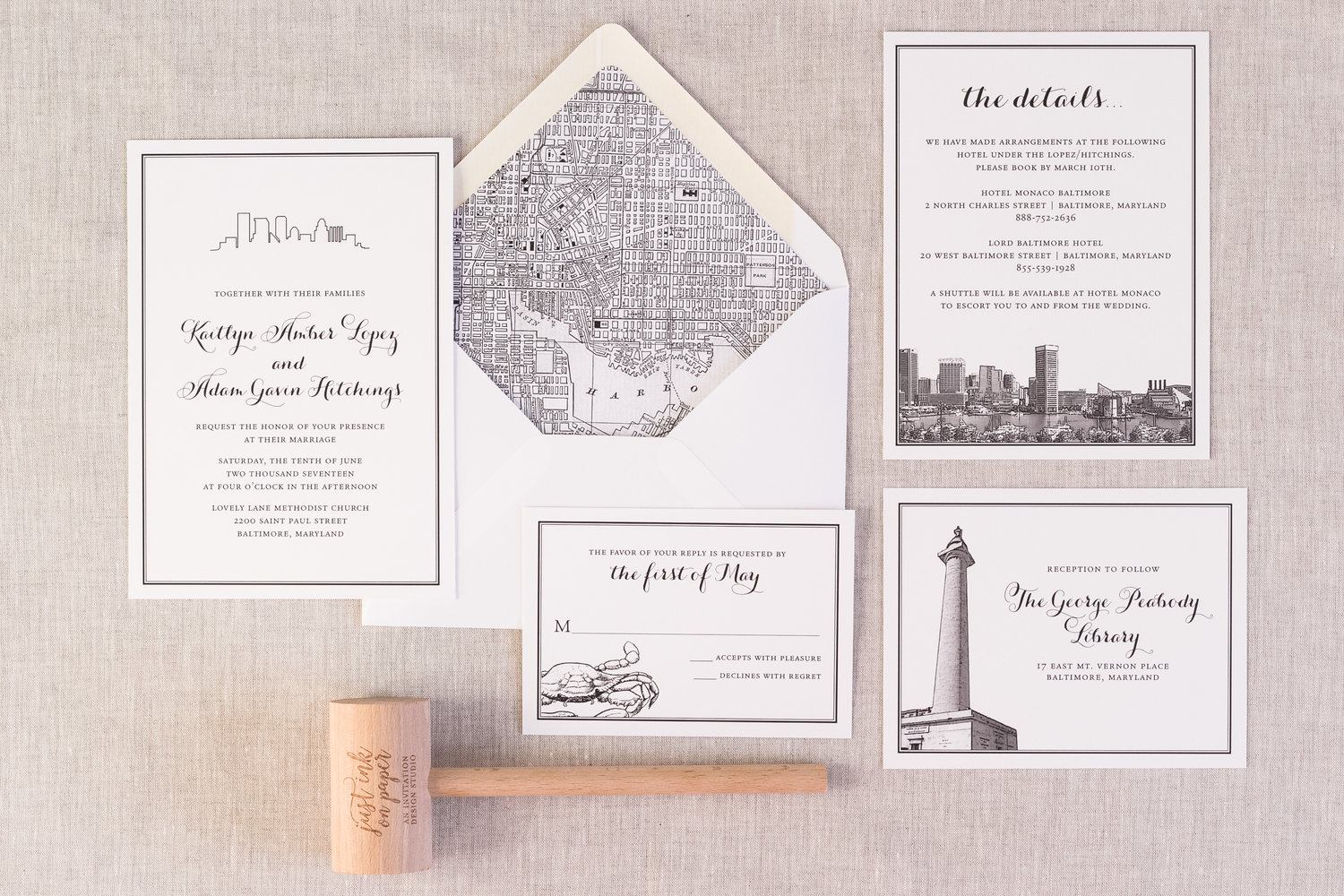 Just Ink On Paper | Baltimore, Maryland Wedding Invitations