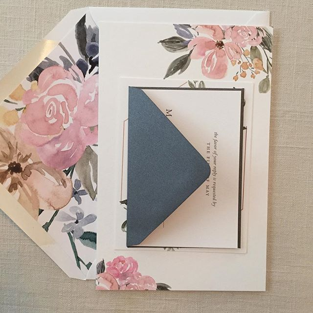 Summertime florals.  #letterpress #invitations #weddinginvitations #dailydoseofpaper #stationery #florals #envelopeliner #annapolis #annapoliswedding #mdwedding