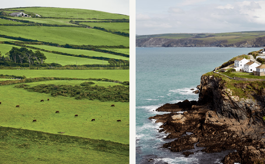 Left: Cattle grazing near the village of Boscastle. Right: The village of Port Isaac, in Cornwall, England.  Simon Watson