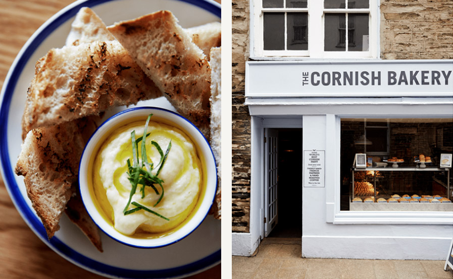 Left: Smoked-haddock brandade and sourdough toast at Outlaw's Fish Kitchen, in Port Isaac. Right: A branch of the popular Cornish Bakery, in Padstow.  Simon Watson