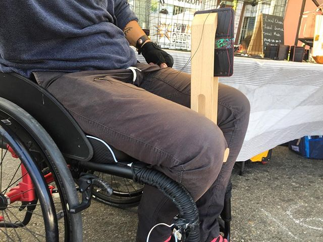 Wheelchair to stitching pony.  Love stitching at pop ups #leatherwork #wheelchair #disabled #madeinoakland #madeincalifornia #powpowgoods #makersgonnamake #handmade #handstitched