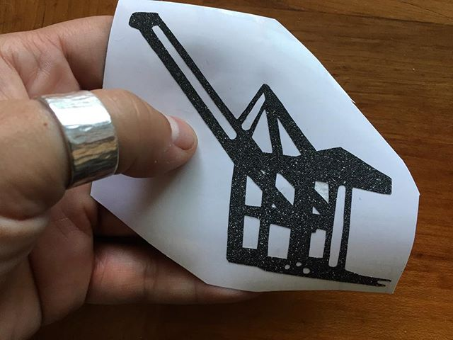 Black glitter sticker also available in white and copper glitter #madeinoakand #westcoastbestcoast #industrialchic #glitter #portofoakland #cranes #queermaker