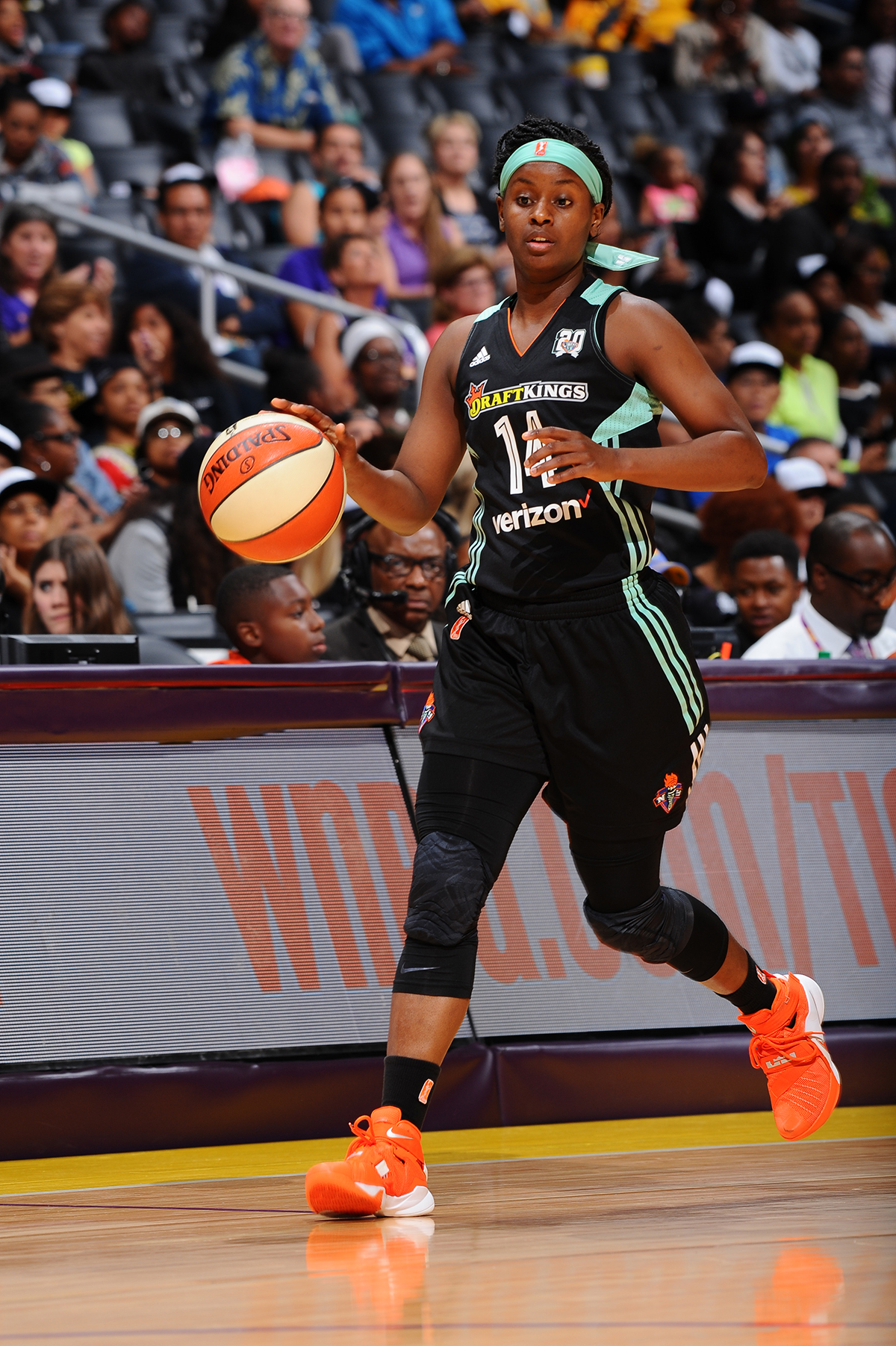 LOS ANGELES, CA - JUNE 7: Sugar Rodgers #14 of the New York Liberty brings the ball up court against the Los Angeles Sparks on June 7, 2016 at STAPLES Center in Los Angeles, California. NOTE TO USER: User expressly acknowledges and agrees that, by downloading and/or using this Photograph, user is consenting to the terms and conditions of the Getty Images License Agreement. Mandatory Copyright Notice: Copyright 2016 NBAE (Photo by Juan Ocampo/NBAE via Getty Images)
