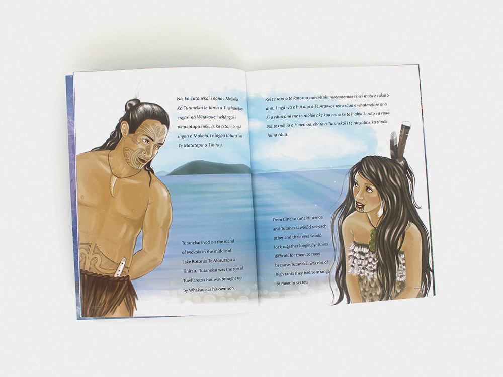 Hinemoa rawa ko Tutanikai Illustration Books Kat Merewether Aunty Bea