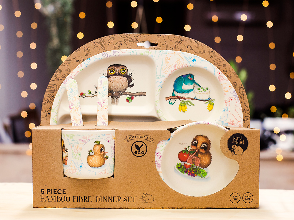 Kuwi the Kiwi, Bamboo Fibre Kid's Dinner Set