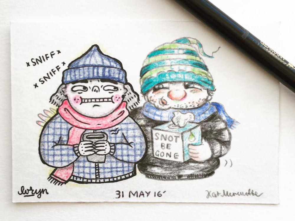 2016 Daily Tiny Drawing Challenge Loryn Engelsman Kat Merewether Illustration Art