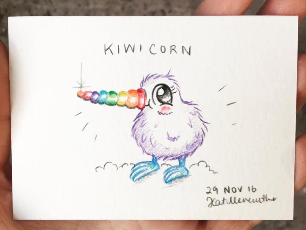 2016 Daily Tiny Drawing Challenge Kat Merewether Illustration Art Kiwicorn