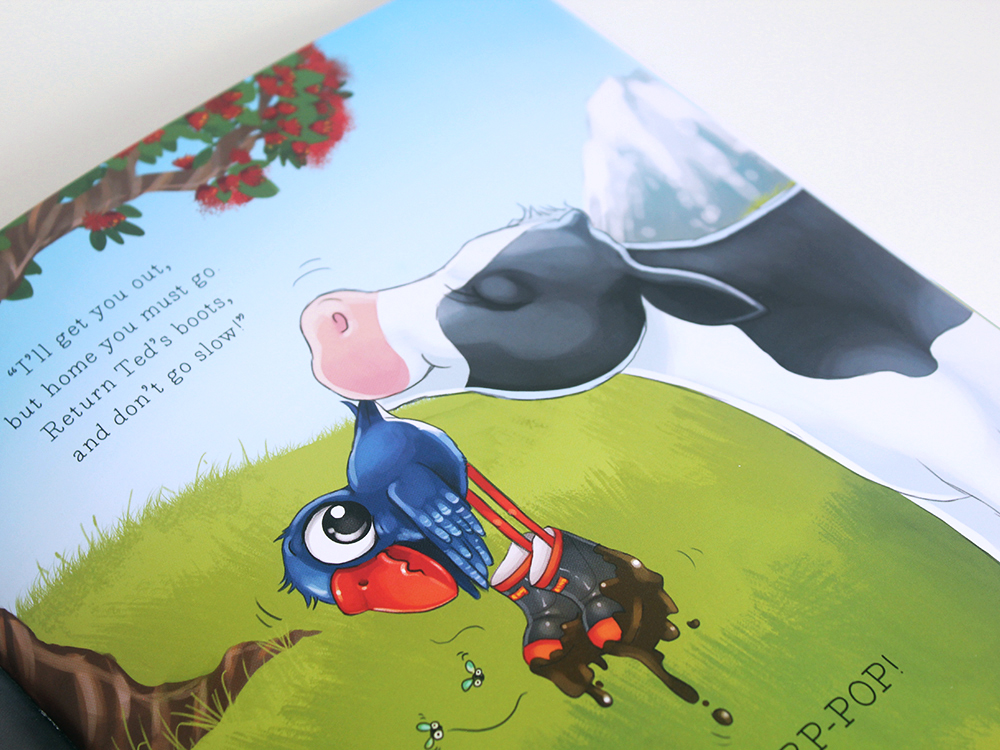 Luke the Pook Stuck in Poo What to do children's book Pukeko Illustration Books