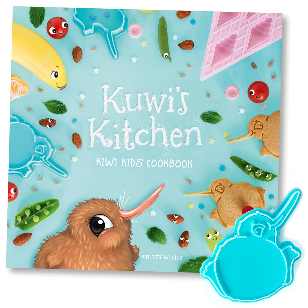 Kuwi's Kitchen Kiwi Kids' Cookbook - By Kat MerewetherComes with FREE Kuwi Bikkie Cutter