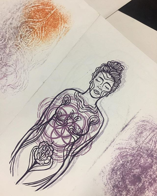 ~when your test print turns out cooler than any of your finalized prints~ just a lil sneak peak! Can't wait to show you guys all the finalized stuff I've been working on in Venice ✨#printmaking #scuoladigrafica #reliefprinting #meditative #feminism #feministart #feminst #sacredgeometry