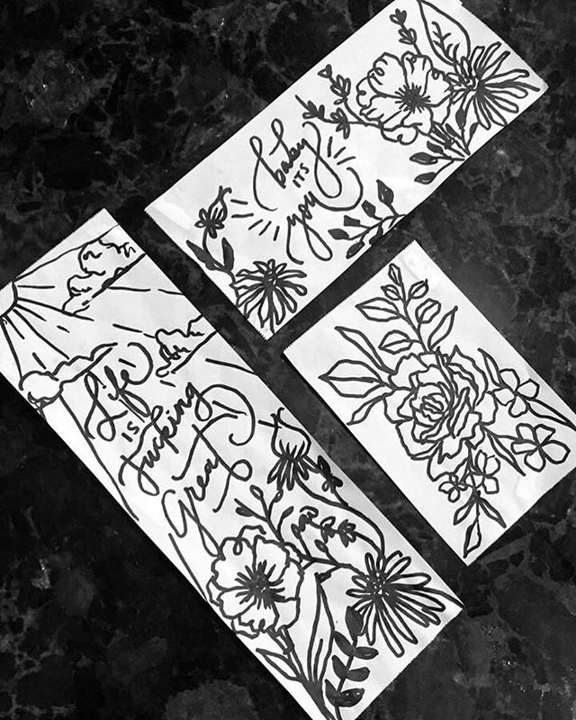 lil receipt paper doodles while working today in the cafe at dutch bros ✨ • • • GO BUY TICKETS TO MY ART SHOW! You know you want to *support a starving artist* 😏 link in my bioooo ——