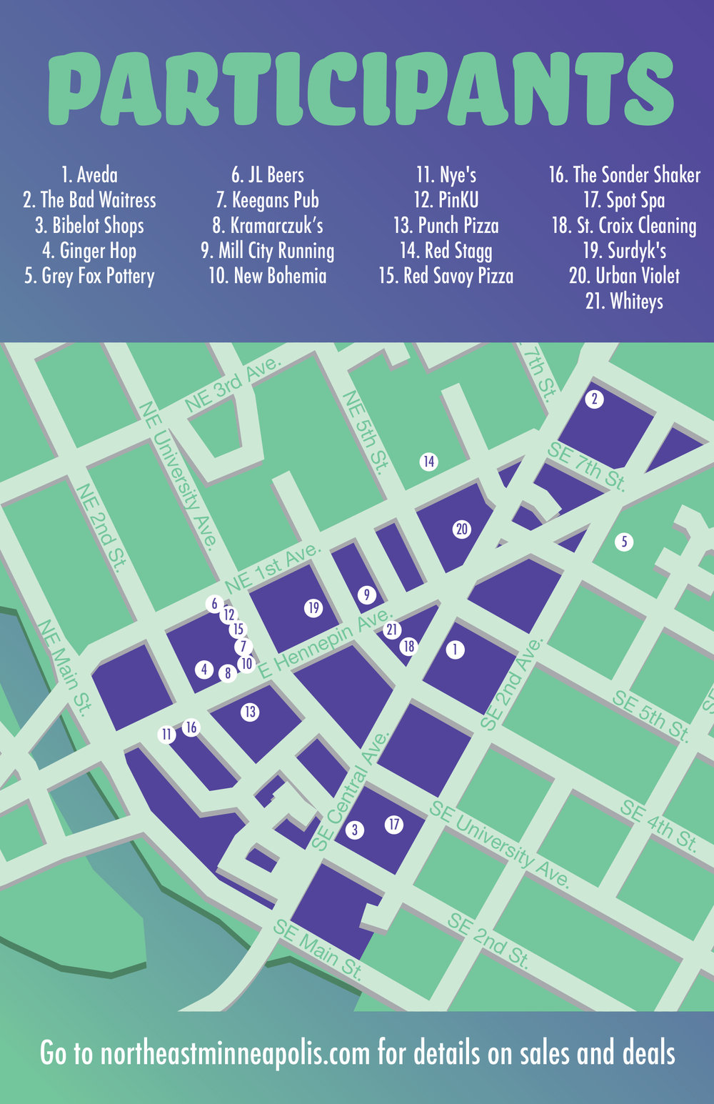 Postcard featuring a map of the neighborhood and list of participants. Design by Kazoo Branding.
