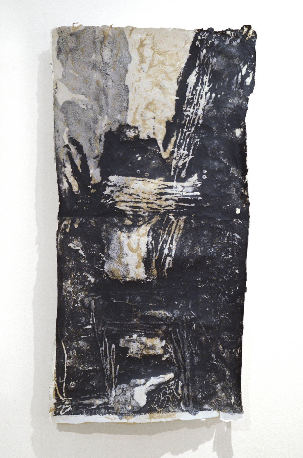 "Collier Point Study #3, 22"" x 42"", Handmade Paper Pulp Type with Japanese Knotweed, Recycled Paper Scrap"