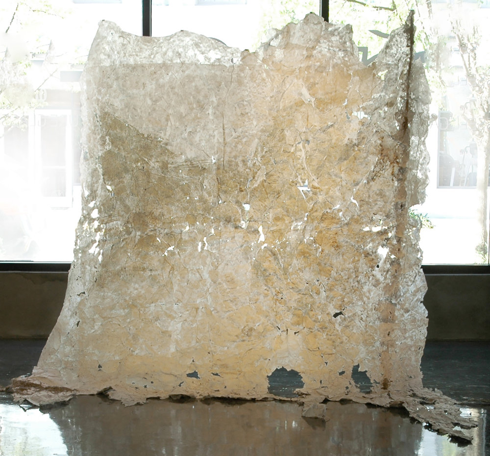 Plaquemine Pour, 2011, Linen Rag Papercast of Levee, 10' x 15'