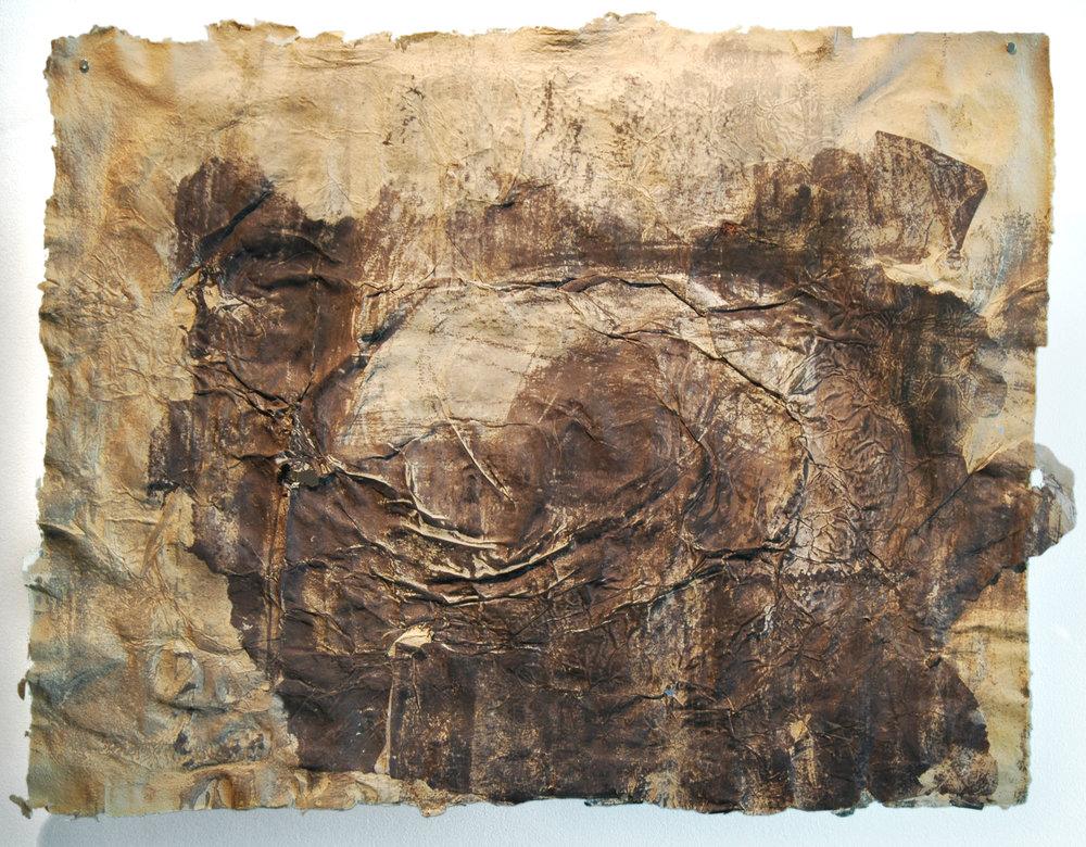 """Cinclaire Study 3, 2011, Handmade Paper, Silkscreen, Paper Cast Woodcut, 43"""" x 31"""""""