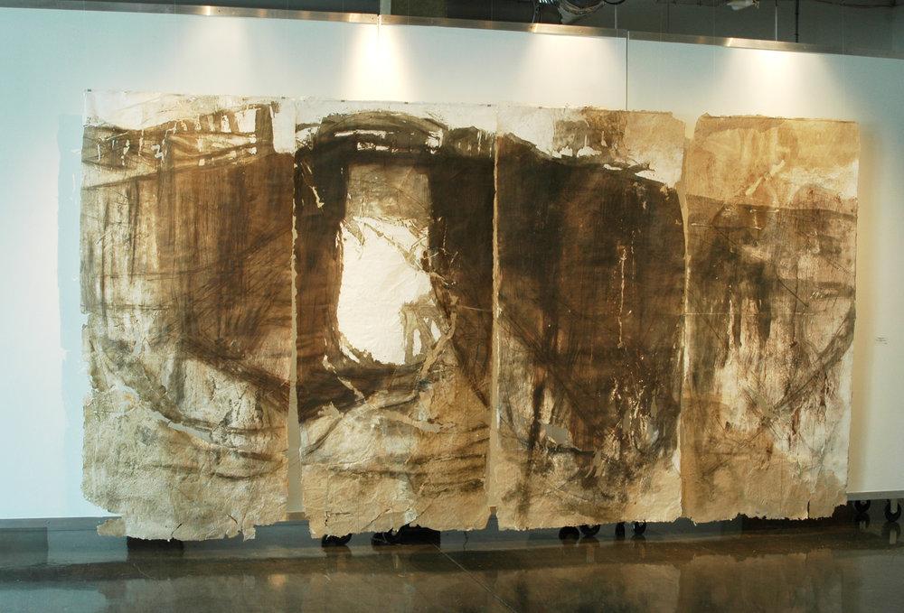 Plaquemine Lock 2, 2011, Woodcut, Handmade Paper, 8' x 16'