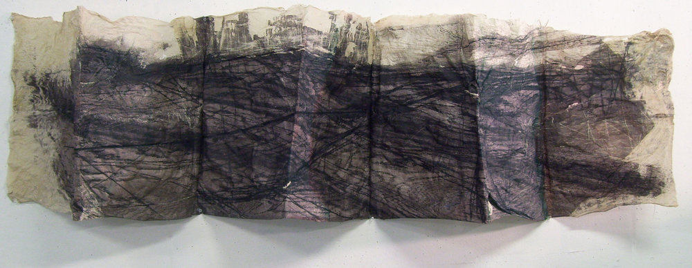 "Folded Landscape, 2010, Handmade Paper, Intaglio Wiped Woodcut, 56"" x 22"""