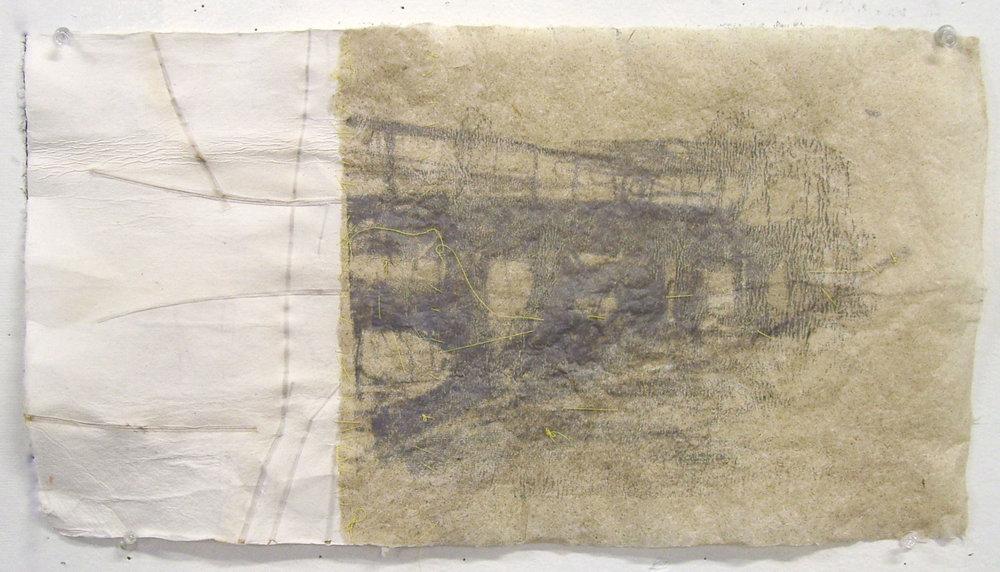 """Bridge Diptypch, 2010, Handmade Paper, Silkscreen, Grasses, 14"""" x 9"""""""
