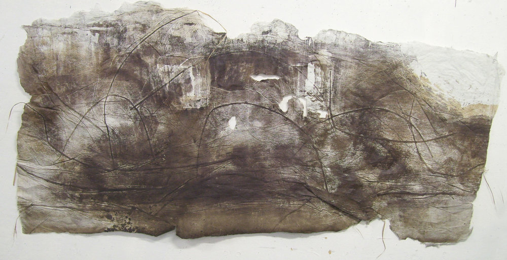 "Pipes, Levee and Beyond 1, 2010, Woodcut, River Grasses, Handmade Paper. 66"" x 31"""