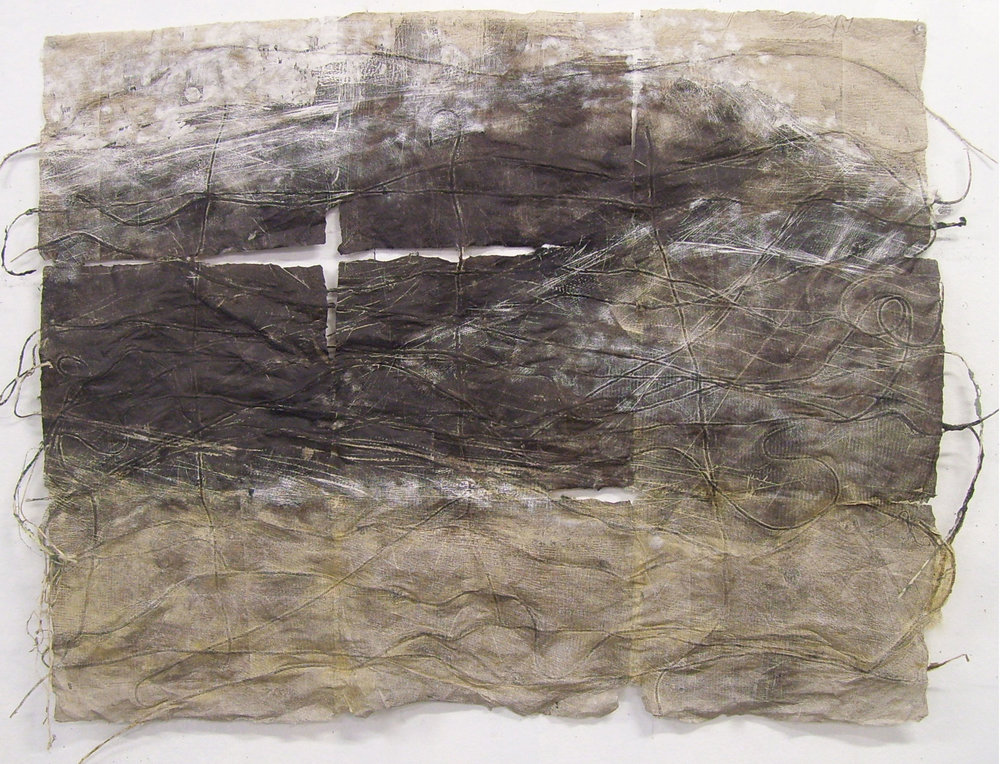 "Gridded Landscape, 2010, Handmade Paper, Pulp Painting, String, Woodcut, 43"" x 36"""