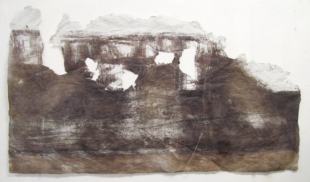 "Pipes, Levee and Beyond 2, 2010, Woodcut, River Grasses, Handmade Paper. 66"" x 31"""