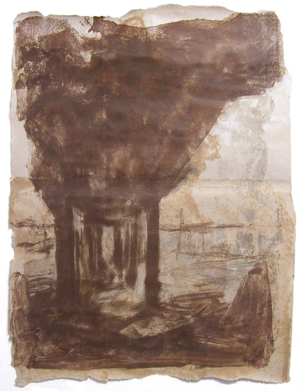 "Port Allen, Louisiana, 2010, Color Lithograph, Pulp Painting, Handmade Paper, 32"" x 40"""