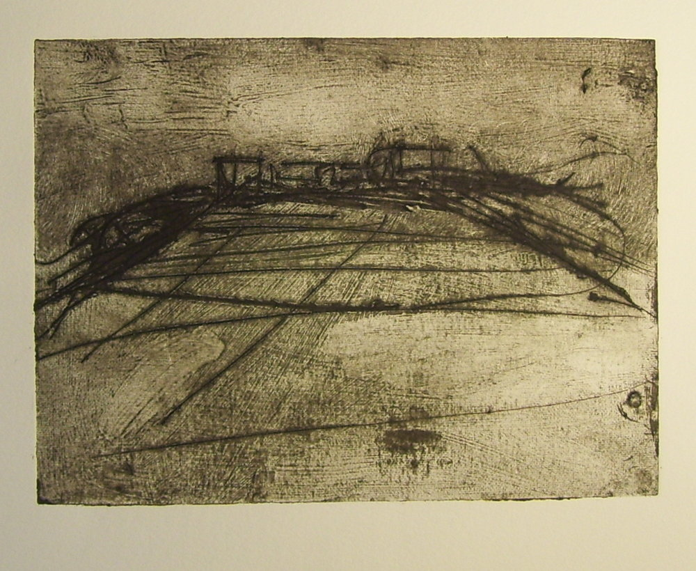 "Passing, 2009, Collograph, 7.5""x9"""