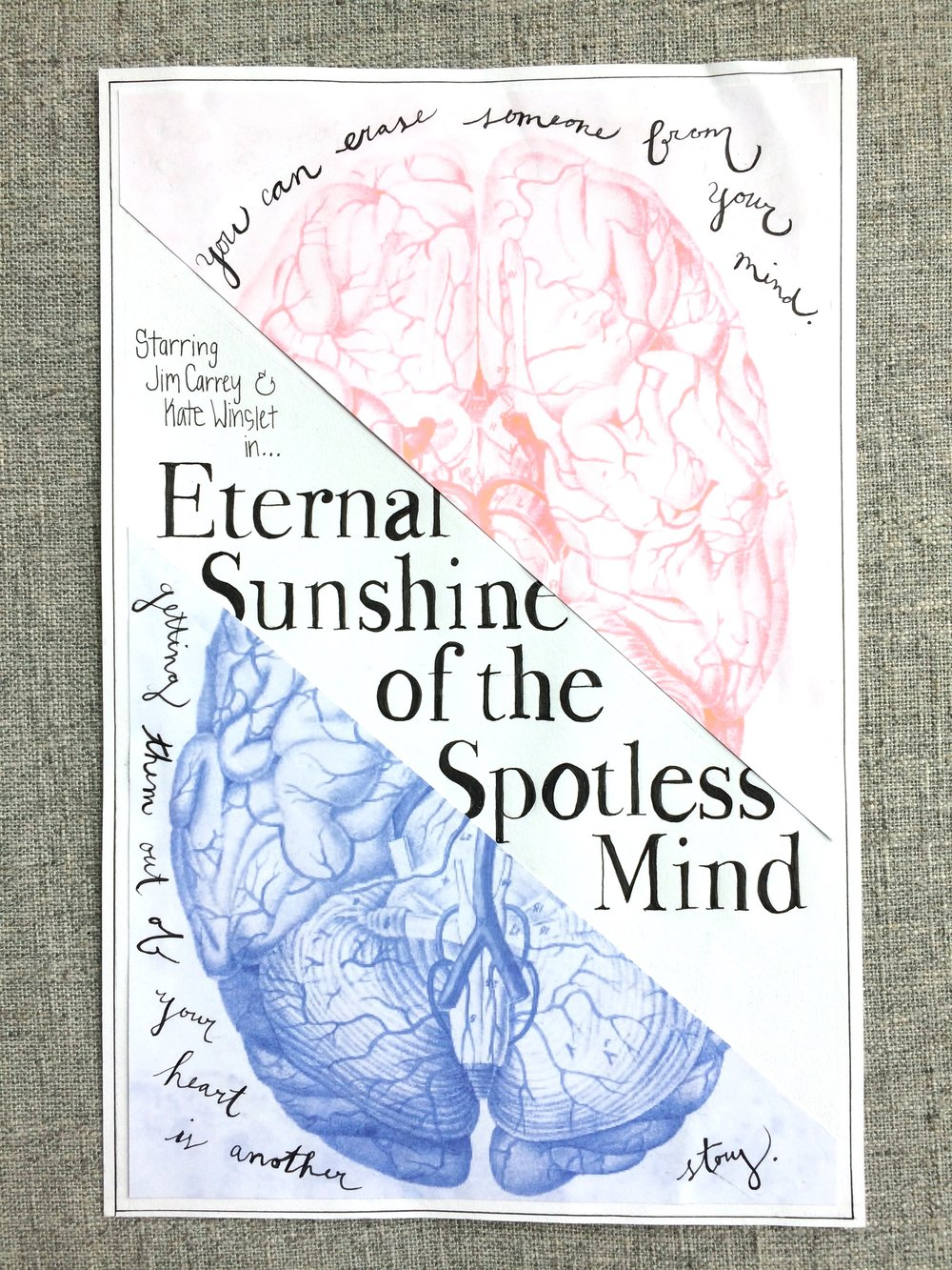 Hand rendered poster design - for the movie, Eternal Sunshine for the Spotless Mind.