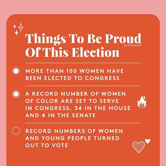 Plus some historic wins for our LGBTQ fam too. The tide is turning! And we're not stopping here. Remember voting is only ONE of many ways to affect and change your community. We made our voices heard on Tuesday but we gotta keep speaking up! ✊🏾✨ • • #repost @refinery29
