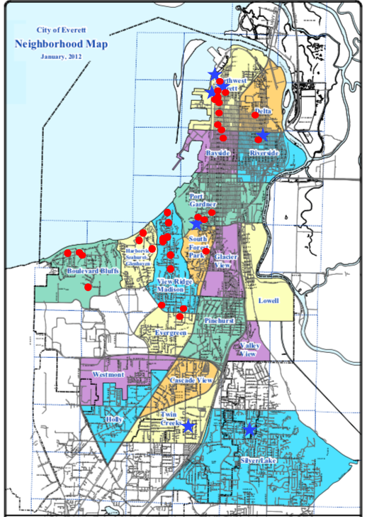 This map shows the neighborhoods of Everett. Red dots are locations of city council members from 1980 to 2017. Blue stars are the locations of the council members now. As you can see, there are areas of the city with a historic lack of representation and some areas that have never had direct representation.
