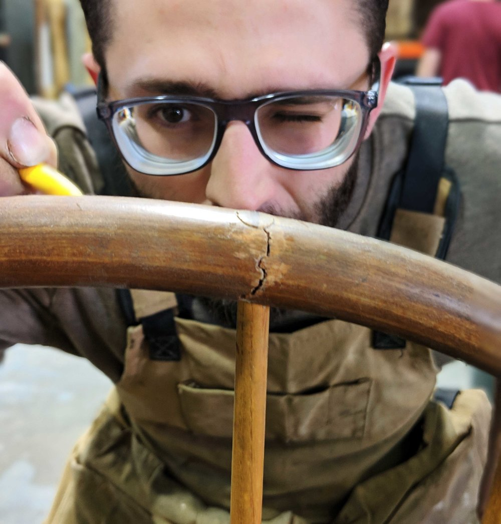 - Our co-founder and owner, Jake is a wiz at complicated furniture repair. Whether it be a cracked crest rail on a Windsor chair (see our video here), a broken mid century Eames lounge chair (these are common), or a damaged cabriole leg (these legs are delicate), Jake's 15 years of carpentry skills help him creatively tackle and repair wood furniture breaks and cracks of all kinds.Sometimes he can make an item stronger than it was before!Got a big break? Bring it on down and Jake will work his magic.CLICK HERE FOR AN ESTIMATE