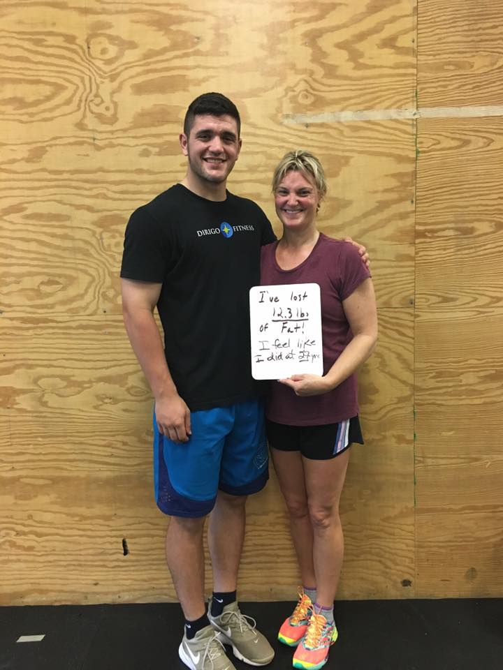 """After 6 months of personal training Liz is down 12.3lbs of just pure fat! """" I feel like I did back when I was 27."""" -"""