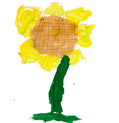My sunflowers aspire to be as awesome as this sunflower painted by my former after school student.