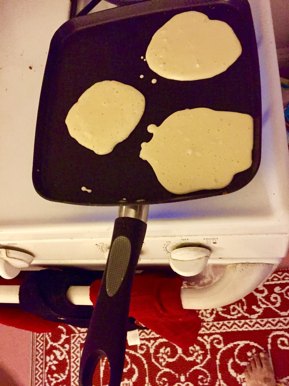 Making the Pancakes  Heat nonstick griddle pan (or add butter to a traditional skillet and heat until melted)  Pour sm pancakes onto the grill, cooking for 2-3 minutes on either side. This recipe makes thin pancakes- for more robust pancakes add more flour.