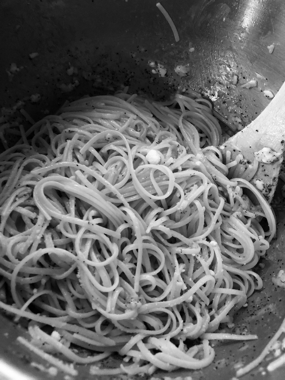 Add an lb of spaghetti, linguini or thin linguine to a pot of salted boiling water. When the pasta is ardent drain and immediately add the pasta to the mixing bowl. Mix thoroughly so the pasta is covered entirely. The cheese melts into a coating which covers all pasta. Add salt and reserved pasta water according to your preferences.