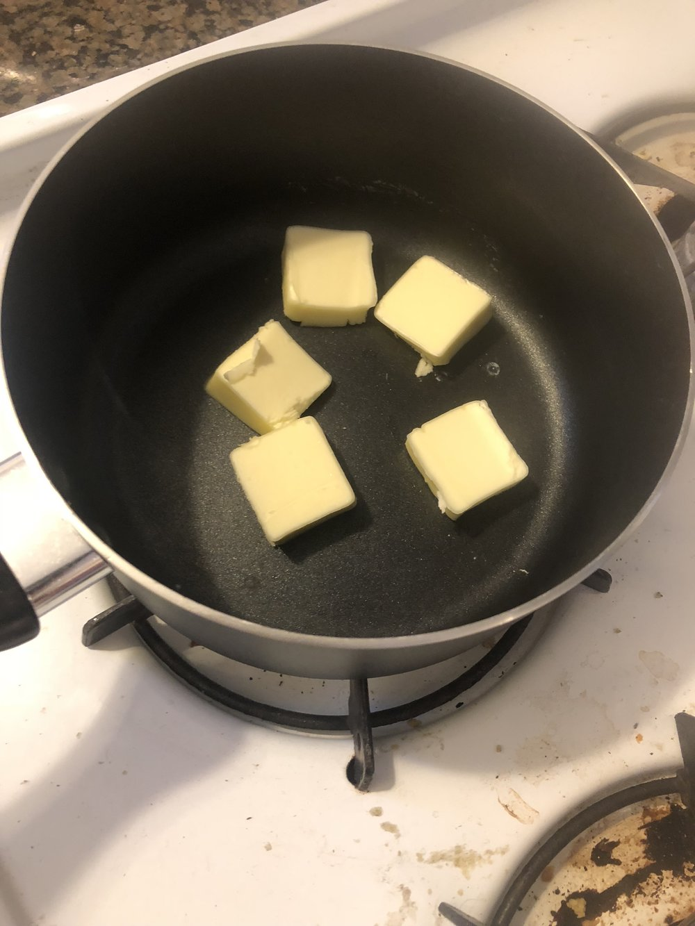 Add the butter into your medium sauce pan. Melt the butter over medium heat and don't let turn to b butter.