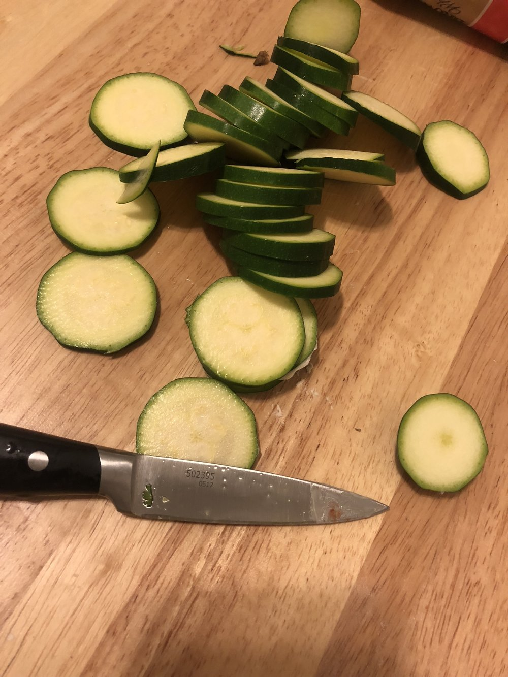 Thinly slice the zucchini
