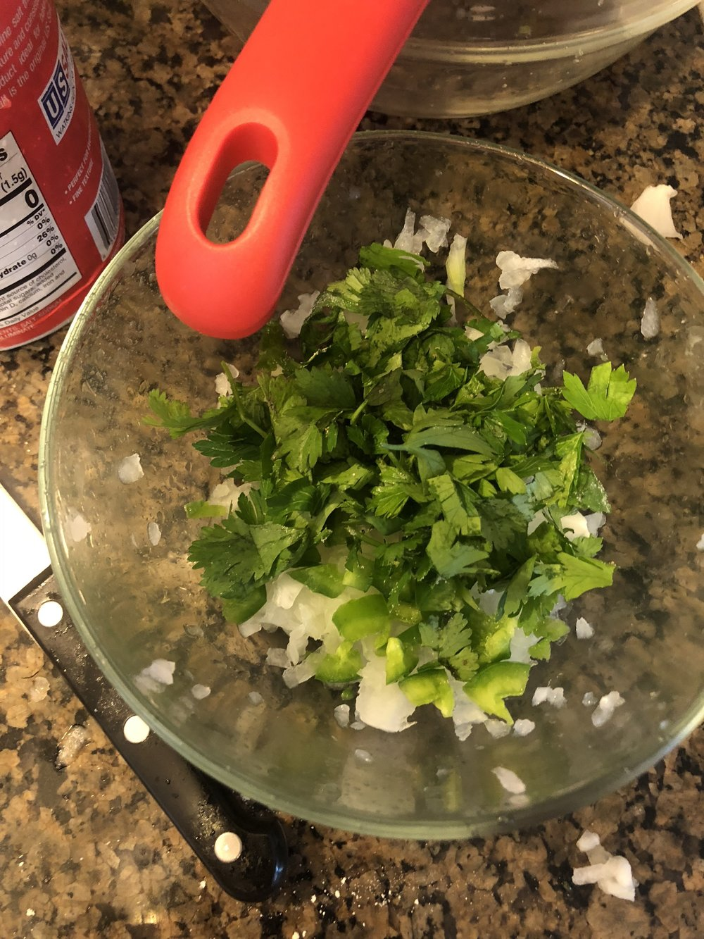 In your medium bowl, add diced jalapeño, herbs and onion. Mix thoroughly.