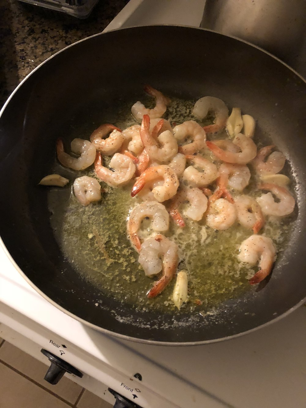 Cook until the shrimp are cooked through. While shrimp is cooking cook the pasta in hot salted boil water.