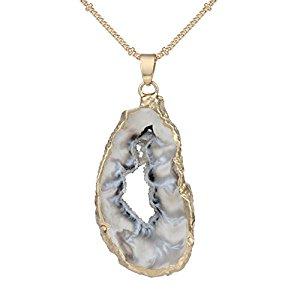 Irregular Slice Geode Necklace