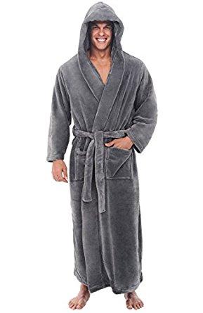 Mens Hooded Fleece Robe